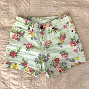 White pink green floral shorts high waisted denim